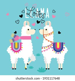Cute cartoon llama couple in love,decorated with heart.Valentine's day concept..It can be used for t-shirt, poster, card, print, mug, phone case,kidstuff ect.