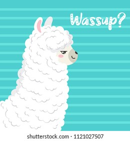 Cute cartoon llama, doodle vector illustration