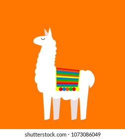 Cute cartoon Llama drawing on bright background, simple vector animal illustration.