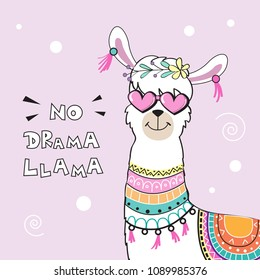 cute cartoon llama with an inscription no drama llama on a pink background