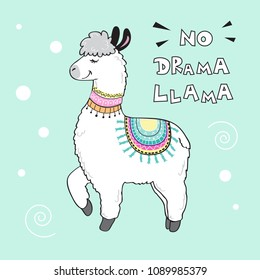cute cartoon llama with an inscription no drama llama on a blue background