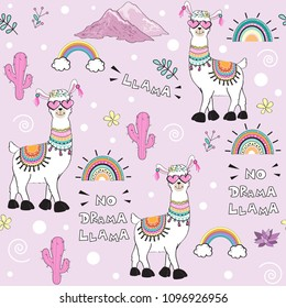 cute cartoon llama with an inscription no drama llama on a pink background seamless pattern