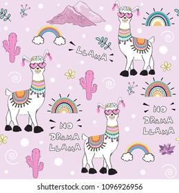 cute cartoon llama with an inscription no drama llama on a pink background seamless pattern