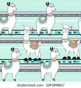 cute cartoon llama on a blue background seamless pattern