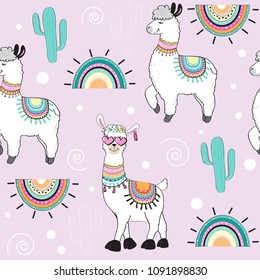 cute cartoon llama on a pink background seamless pattern