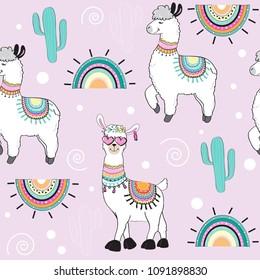 cute cartoon llama on a pink background seamless pattern