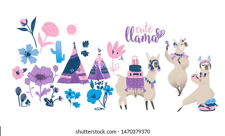 Cute cartoon llama set - funny alpaca dancing, traveling and drinking tea. Exotic animal with boho chic symbols, teepee and flowers in hand drawn style - isolated vector illustration collection
