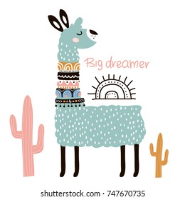 Cute cartoon llama with in tribal style. Childish print for nursery, kids apparel,poster, postcard. Vector Illustration