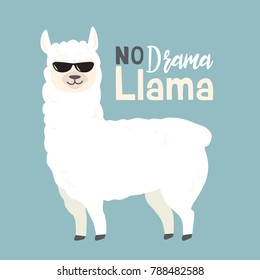 Cute cartoon llama vector design with No drama llama motivational quote