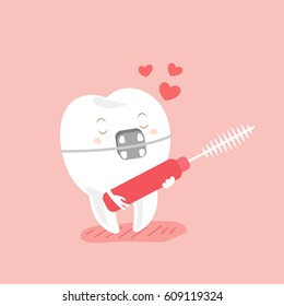 cute cartoon love teeth wear brace and interdental brushes with pink background