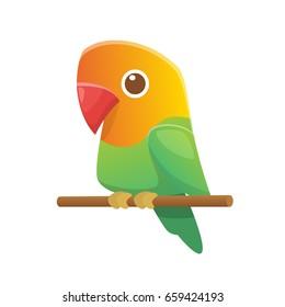 Cute cartoon lovebird parrot vector