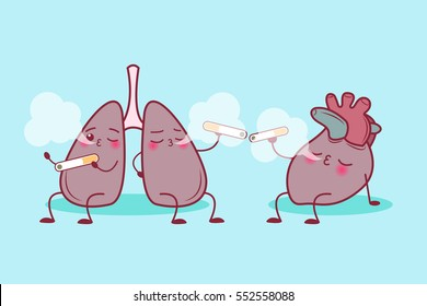 cute cartoon lung and heart enjoy smoke