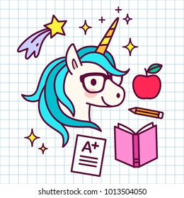 Cute cartoon magic unicorn with eyeglasses, with school themed icons around, on grid paper background. Shooting stars, apple, textbook, pencil, A-plus test result. Dreams, achievement, success concept