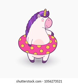 Cute cartoon magical unicorn. Vector illustration. Template for printing, background, texture, wallpaper, postcard. Unicorn in inflatable ring smiling