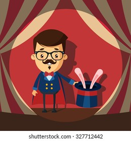 Cute Cartoon Magician and the Rabbit in Hat. Colorful Vector Illustration