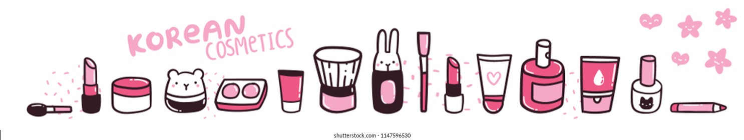 Cute cartoon make up collection. Korean cosmeticts funny illustration. Cream, lotion, gel, nail polish, eye shadow, perfume, lip stick, brush, pencil.
