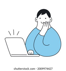 A cute cartoon man is working with a laptop in his workplace. He is leaning his head on his hand, smiling and looking at the display. Joyful workday, success, and seeing how things work out.