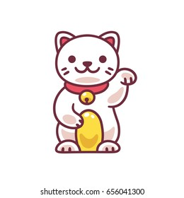 Cute cartoon Maneki Neko, Japanese lucky cat. Adorable vector drawing of good luck Feng Shui kitty.