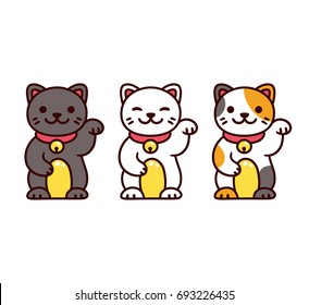 Cute cartoon Maneki Neko, Japanese lucky cats. Black, white and calico Feng Shui kitty vector illustration set.