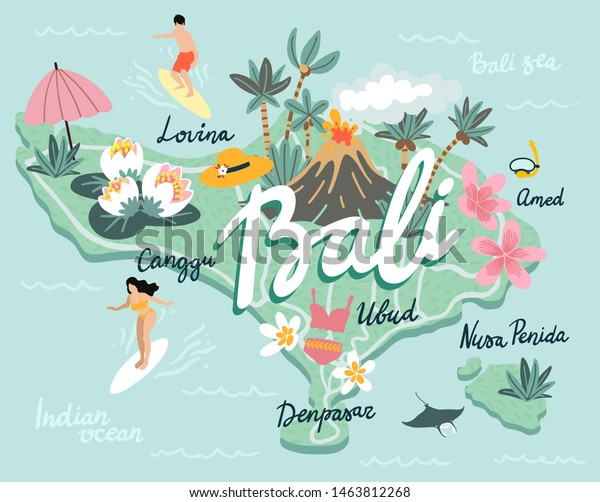 Cute Cartoon Map Bali Island Indonesia Stock Vector Royalty Free 1463812268