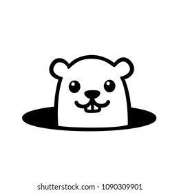 Cute cartoon marmot looking from hole in ground. Groundhog Day illustration. Simple black and white drawing.