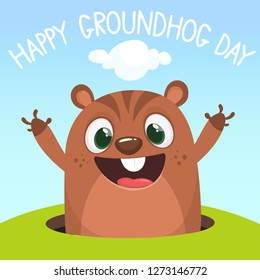 Cute cartoon marmot looking from hole in ground. Groundhog Day isolated vector illustration.