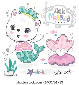 Cute cartoon mermaid cat with pearl shape heart in an oyster shell in the sea on white background illustration vector.
