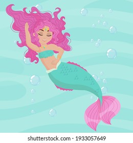 Cute cartoon mermaid. Little Mermaid with Pink Hair and Green Tail. A magical creature. Vector illustration isolated on color background.