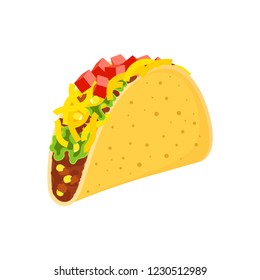 cute cartoon mexican tacos characters isolated on white, delicious fastfood yellow tacos with beef and chicken, green salad and red tomato for cafe party, restaurant season offer design