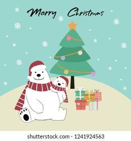 Cute Cartoon Mom And Baby Polar Bear In Christmas Costume Sitting On Snow Hillwith