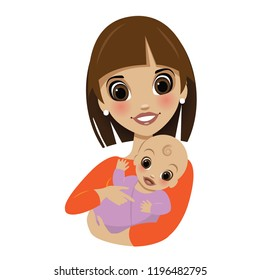 Cute cartoon mom holding and tickling adorable baby. EPS10 vector illustration.