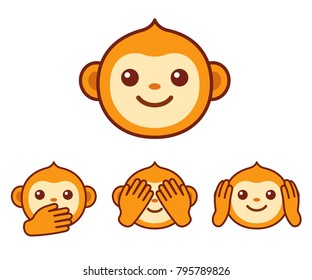 "Cute cartoon monkey face icon. Three wise monkeys with hands covering eyes, ears and mouth: ""See no evil, hear no evil, speak no evil"". Simple vector emoji illustration."