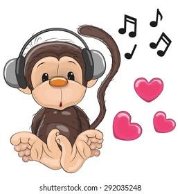 Cute cartoon Monkey with headphones