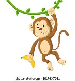 Cute cartoon monkey holding banana. Vector illustration