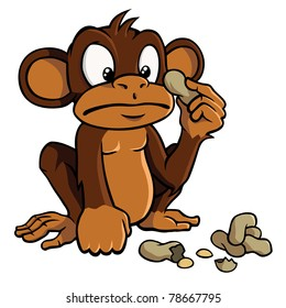 Cute cartoon monkey looking bewildered at some peanuts.