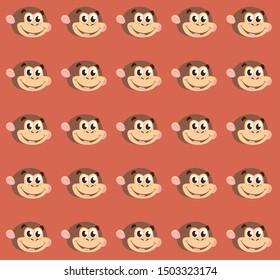 Cute cartoon monkey pattern vector
