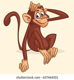 Cute cartoon monkey sitting. Vector illustration of chimpanzee stretching his head. Children book illustration or sticker