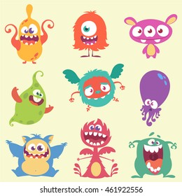 Cute cartoon monster and alien characters icons set. Halloween vector illustration