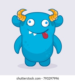 Cute cartoon monster.  Crazy monster emotion. Cute monster illustration.