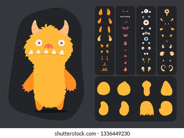 Cute cartoon monster creation kit, construction elements and body parts for building creatures for kids toys, video games and halloween designs. ready to animation.
