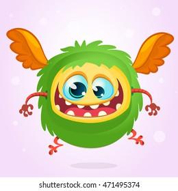 Cute cartoon  monster. Halloween vector fluffy green monster