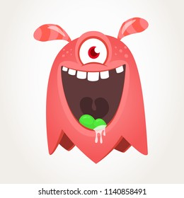 Cute cartoon monster  with horns and one eye. Smiling monster emotion with big mouth. Halloween vector illustration for package design