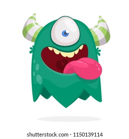 Cute cartoon monster  with horns with one eye.  Halloween vector illustration or logo