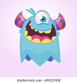 Cute cartoon monster  with horns with one eye. Smiling monster emotion with big mouth. Halloween vector illustration. Funny monster logo