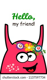Cute cartoon monster. Invitation Card