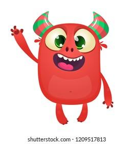 Cute cartoon monster mascot waving. Vector illustration of funny alien