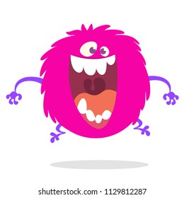 Cute cartoon monster screaming or laughing with big mouth. Vector illustration of pink round monster character for Halloween