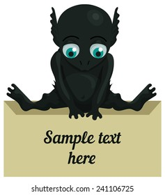 Cute cartoon monster with a tablet for your text