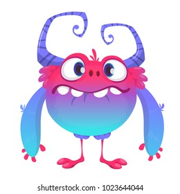 Cute cartoon monster. Vector  furry blue monster character with tiny legs and big horns. Halloween design