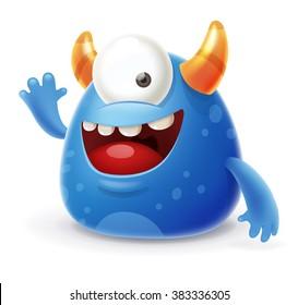 Cute Cartoon Monster Waving Hello